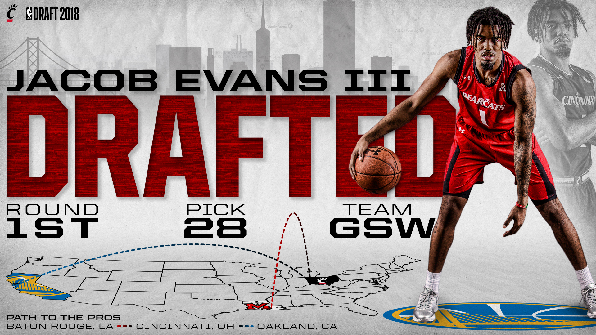 ece00008b Evans Selected by Golden State in First Round of NBA Draft ...